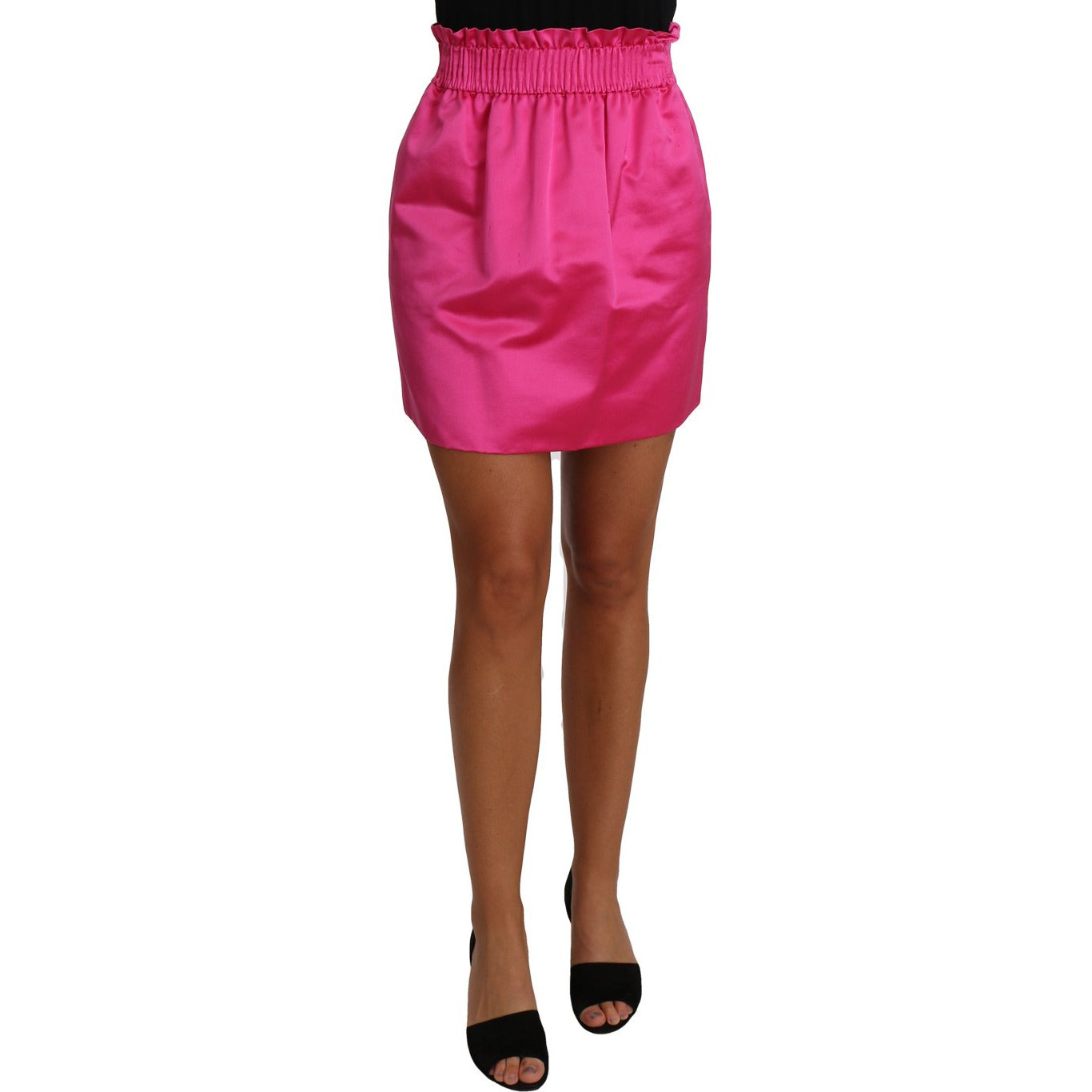 Paperbag Mini Skirt Pink 100% Silk Short