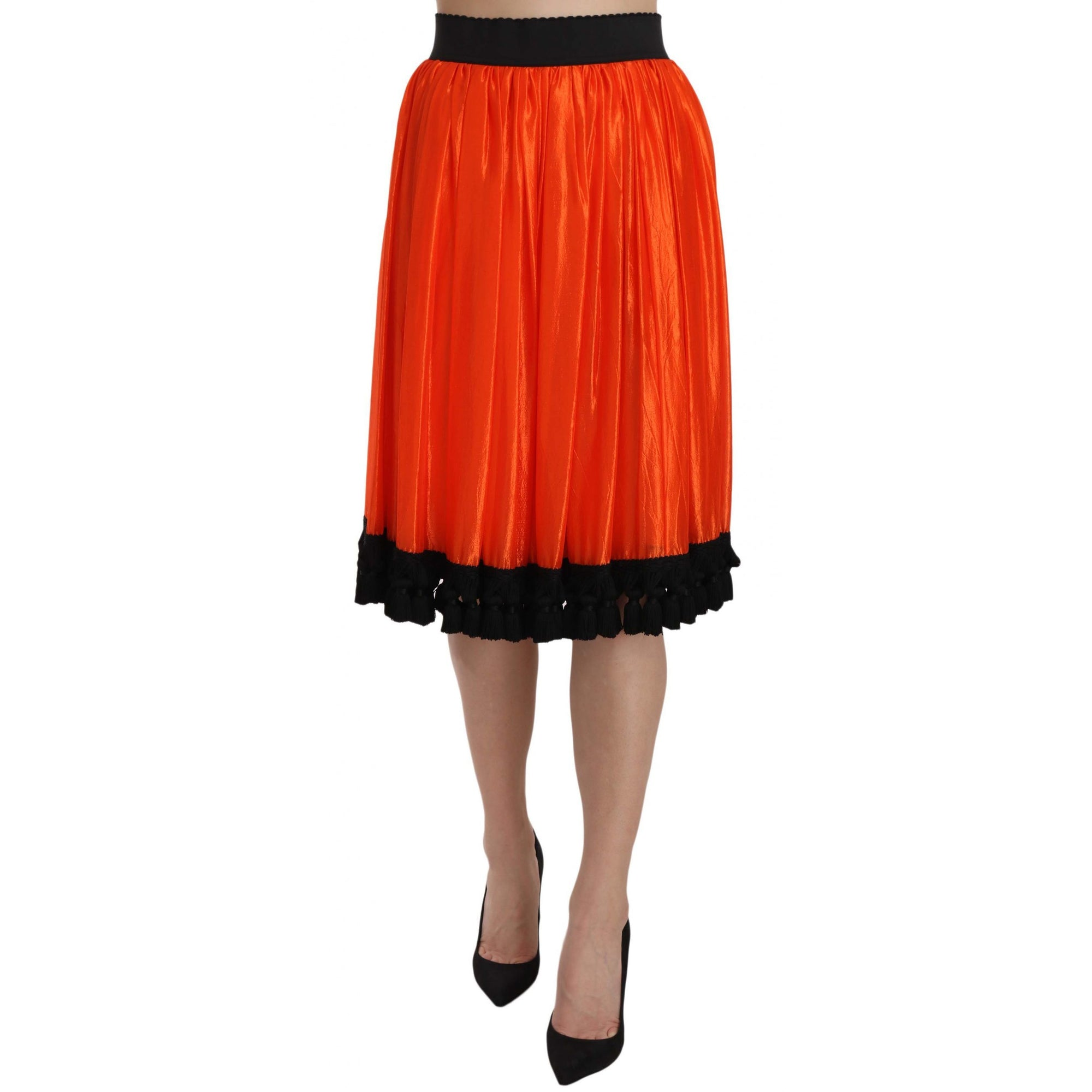 Orange High Waist Knee Length Skirt