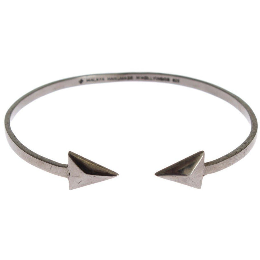 Arrow Gray 925 Silver Bangle Bracelet Nialaya