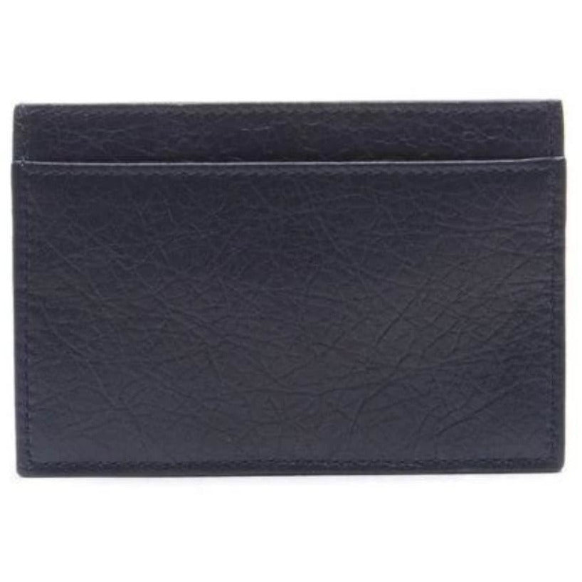 Balenciaga Men's Navy Gray Square Leather Business Card Wallet 311824