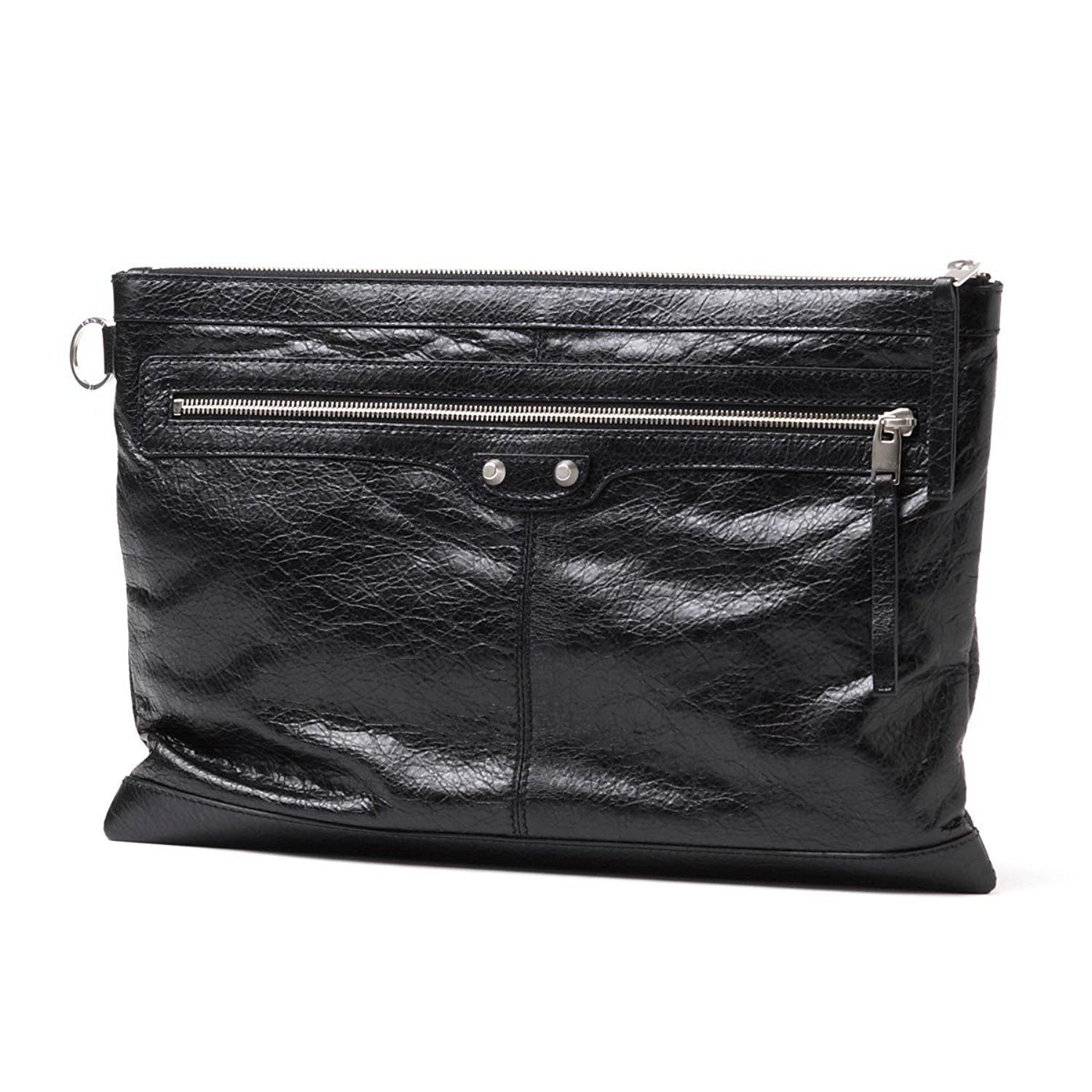 Balenciaga Unisex Black Pebbled Leather Oversized Clutch Bag 273023 Handbags Balenciaga