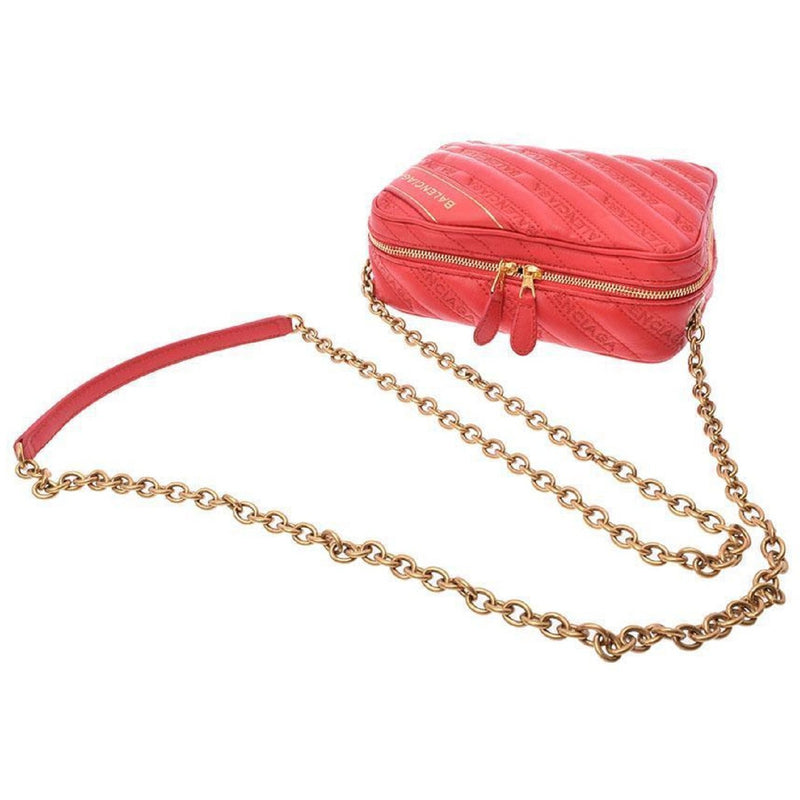 Balenciaga Veau Matelasse Embroidered Logo Red Rouge Blanket Reporter Chain Bag 502026