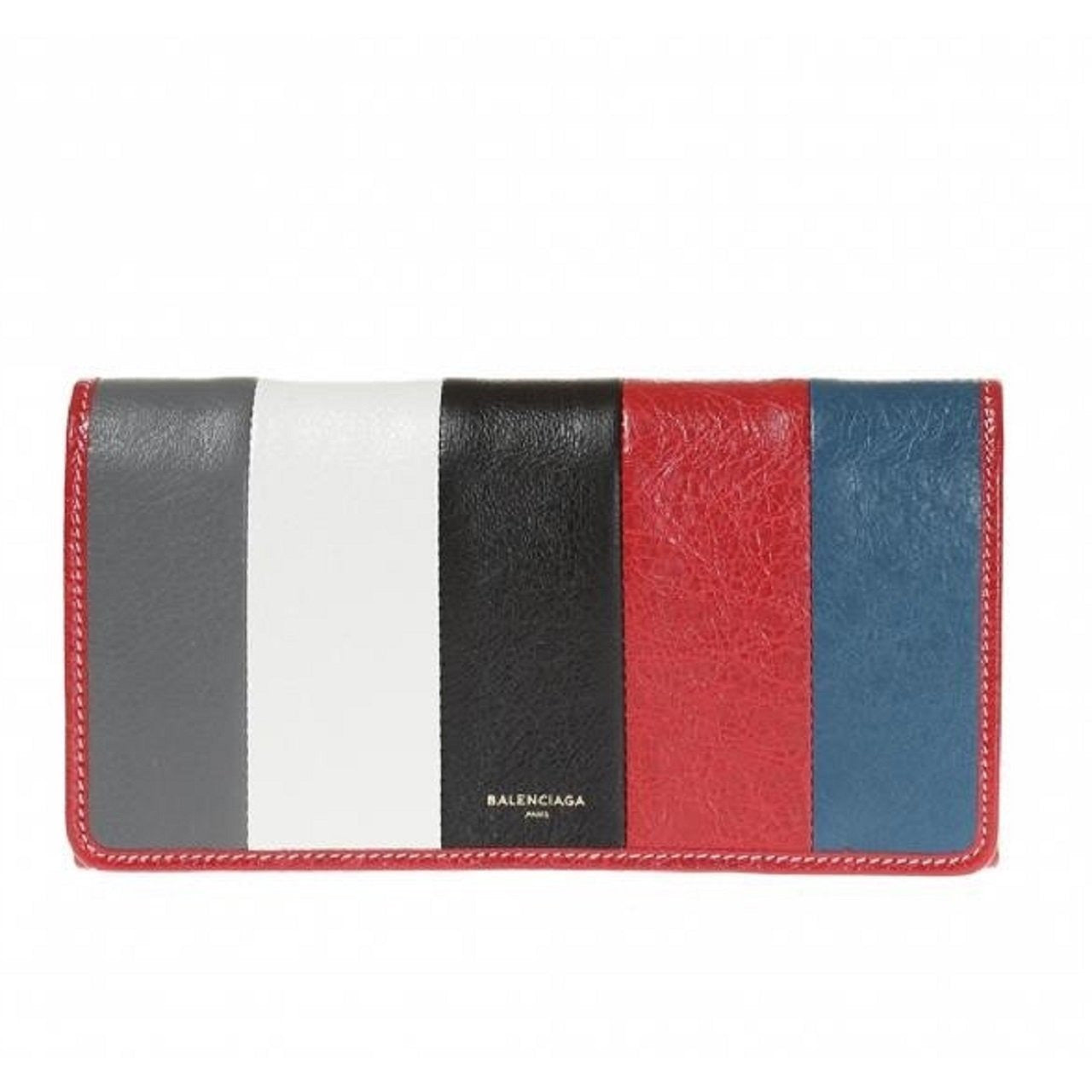 Balenciaga Womens Arena Multicolor Striped Leather Foldover Snap Wallet 443654