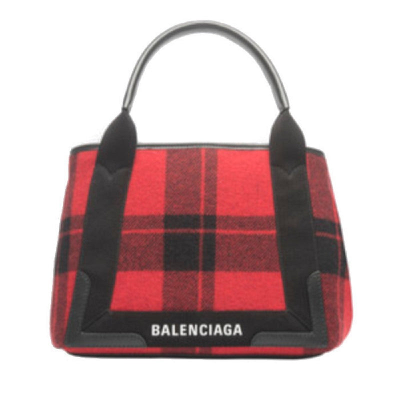 Balenciaga Womens Red Black Leather Cabas Pouchette Satchel Handbag 339933