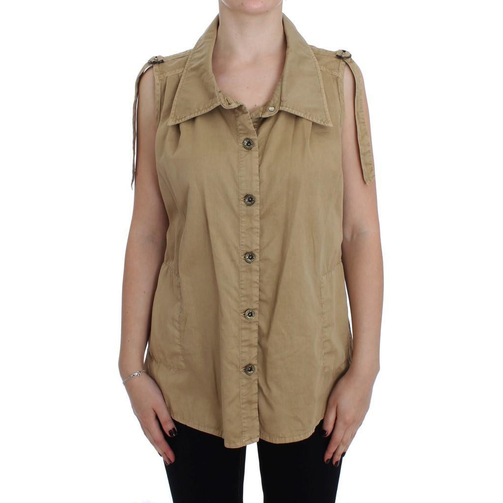 Beige Cotton Sleeveless Shirt PLEIN SUD