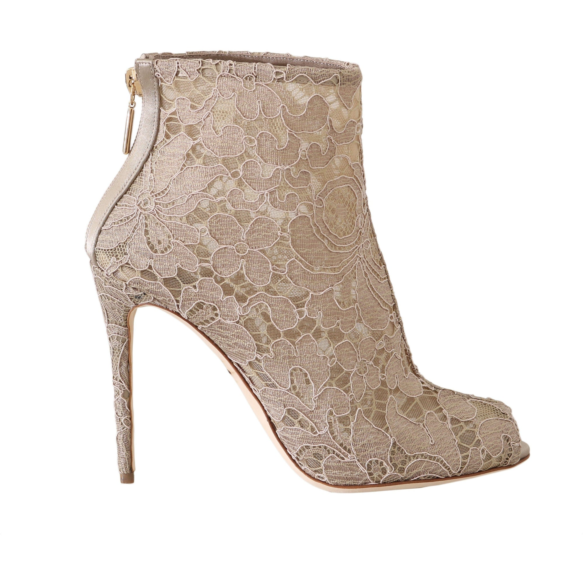 Beige Leather Cotton Lace Booties Dolce & Gabbana