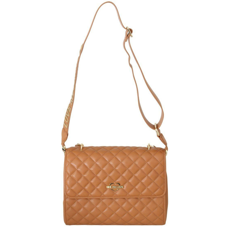 Beige Quilted Faux Leather Bag HANDBAG Moschino