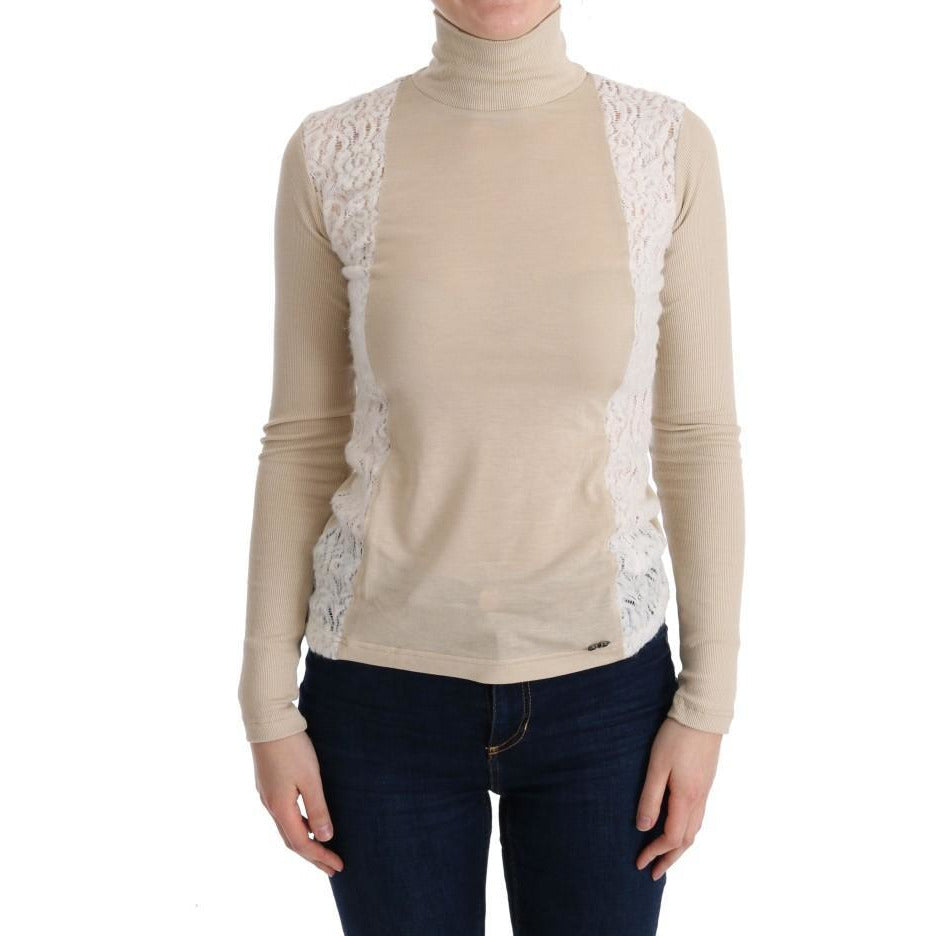 Beige Turtleneck Viscose Top Sweater Costume National