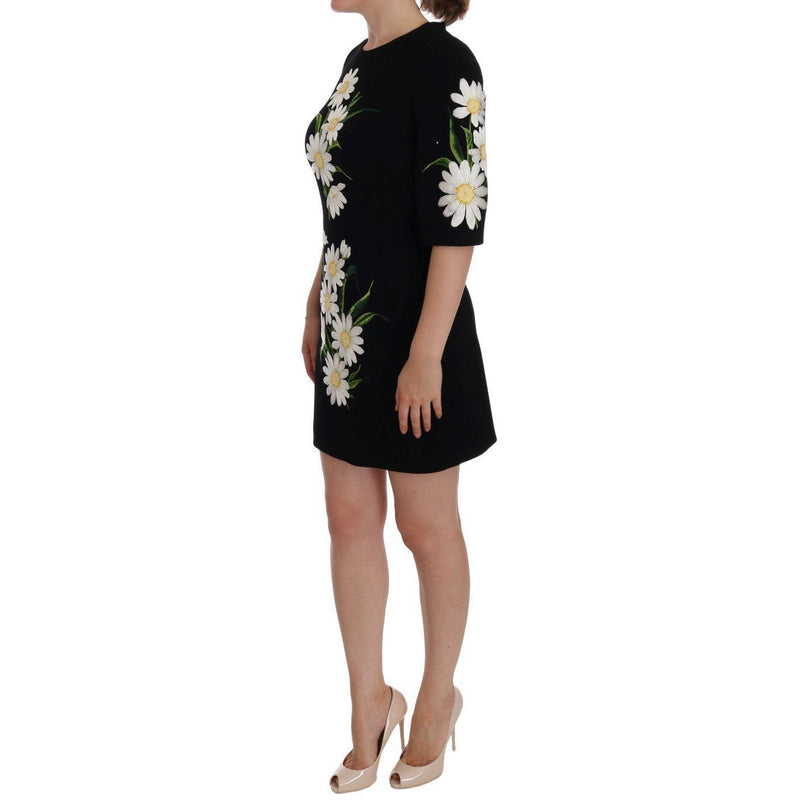 Black Chamomile Print Wool Stretch Dress Dolce & Gabbana