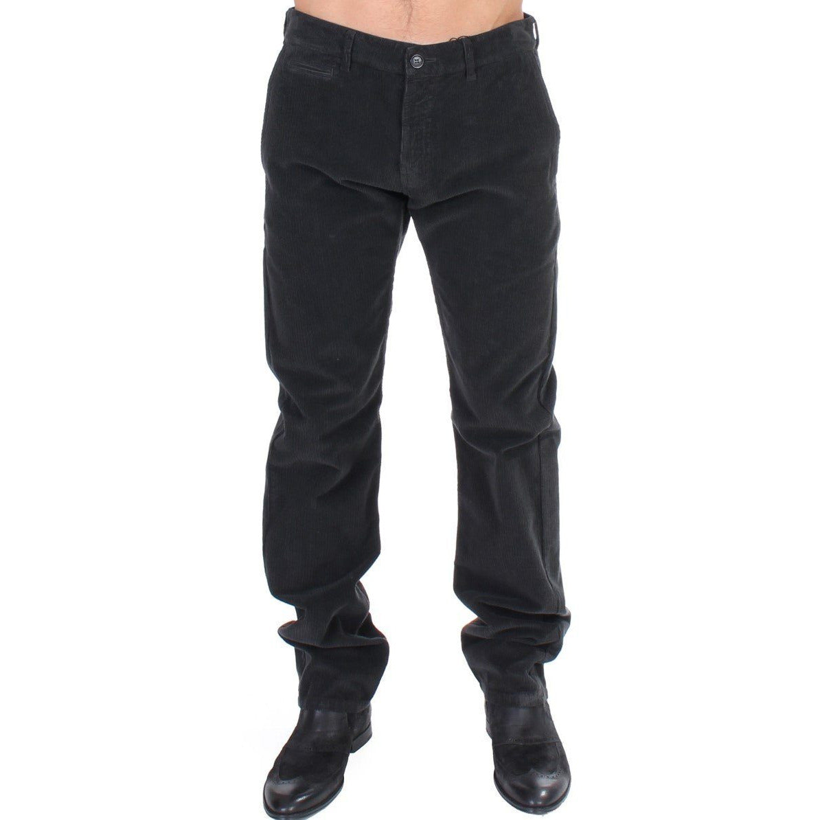 Black Corduroy Cotton Straight Fit Pants GF Ferre