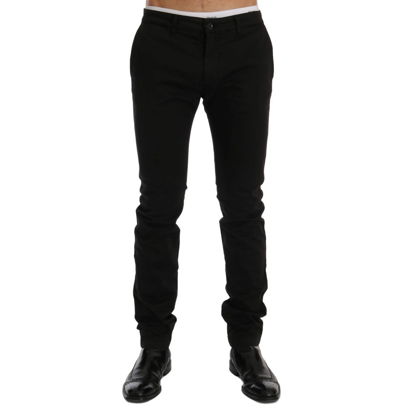 Black Cotton Stretch Chinos Pants GF Ferre