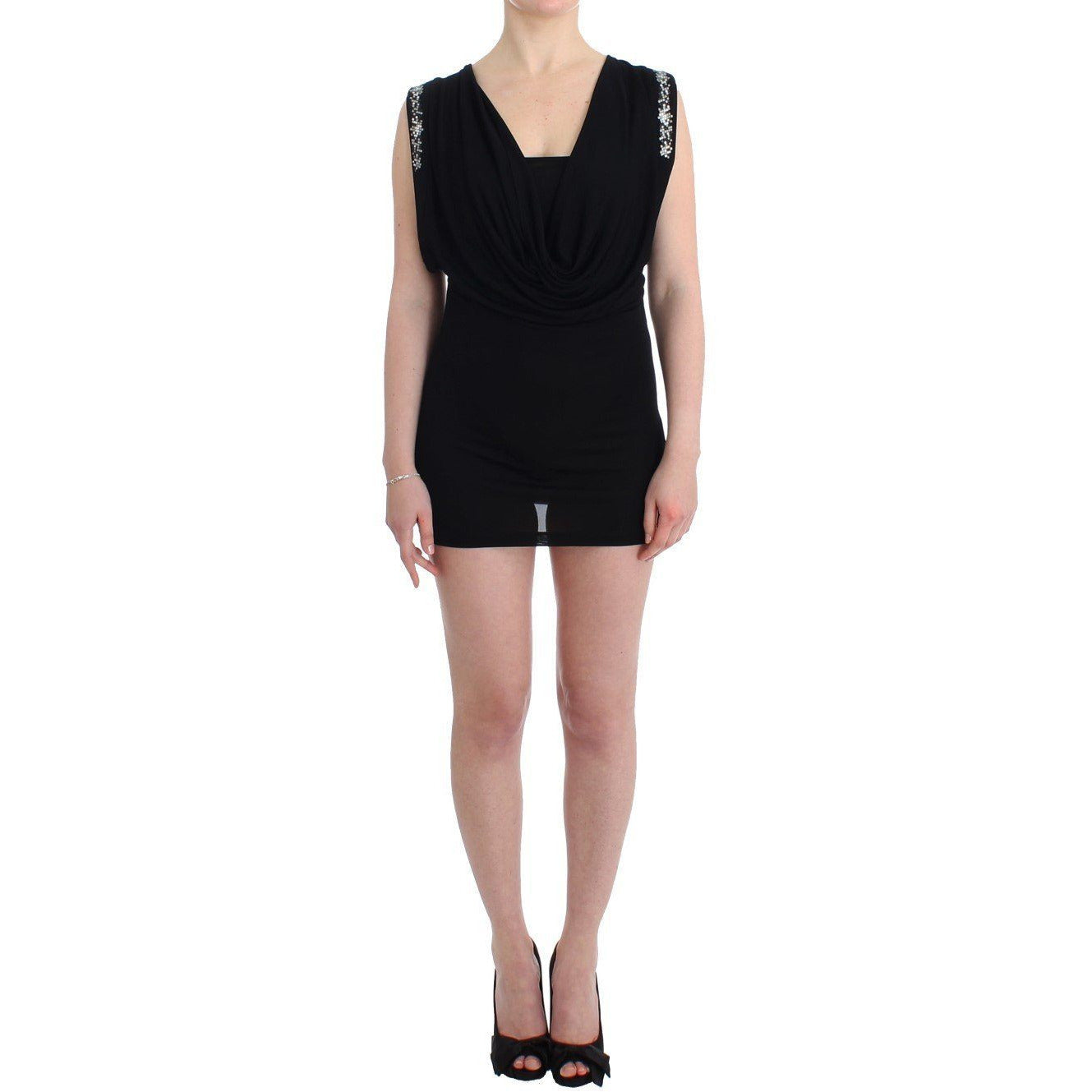 Black Embellished Jersey Mini Sheath Short Dress Roccobarocco