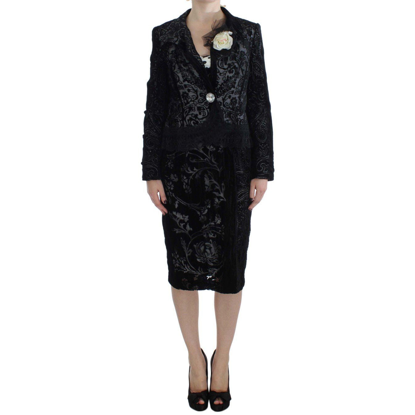 Black Floral Sheath Dress & Blazer Set BENCIVENGA