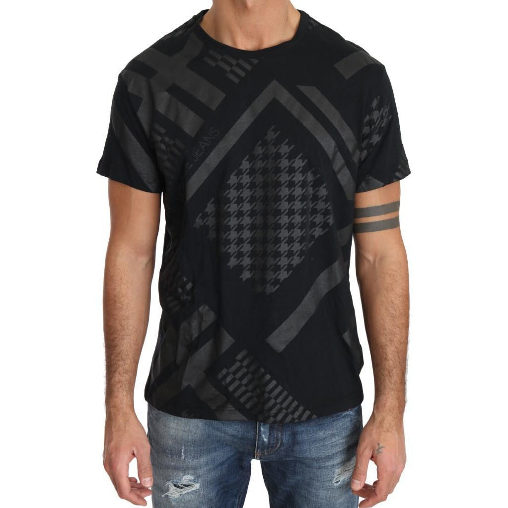 Black Gray Cotton Motive Print Crewneck T-shirt Versace Jeans