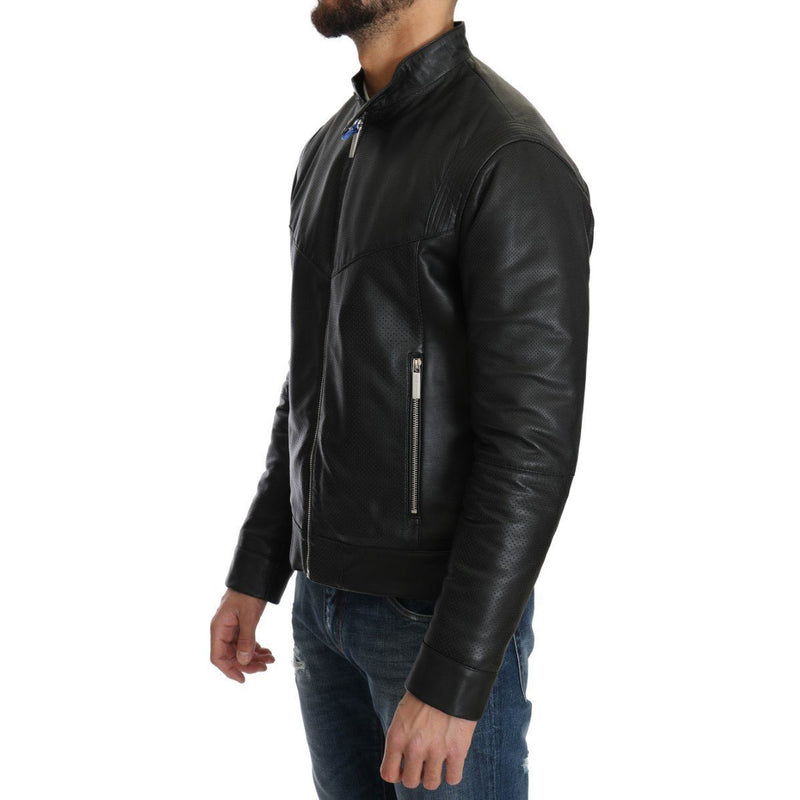 Black Leather Biker Motorcycle Jacket Versace Jeans