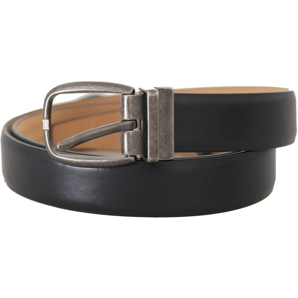Black Leather Brushed Buckle Mens Belt Dolce & Gabbana
