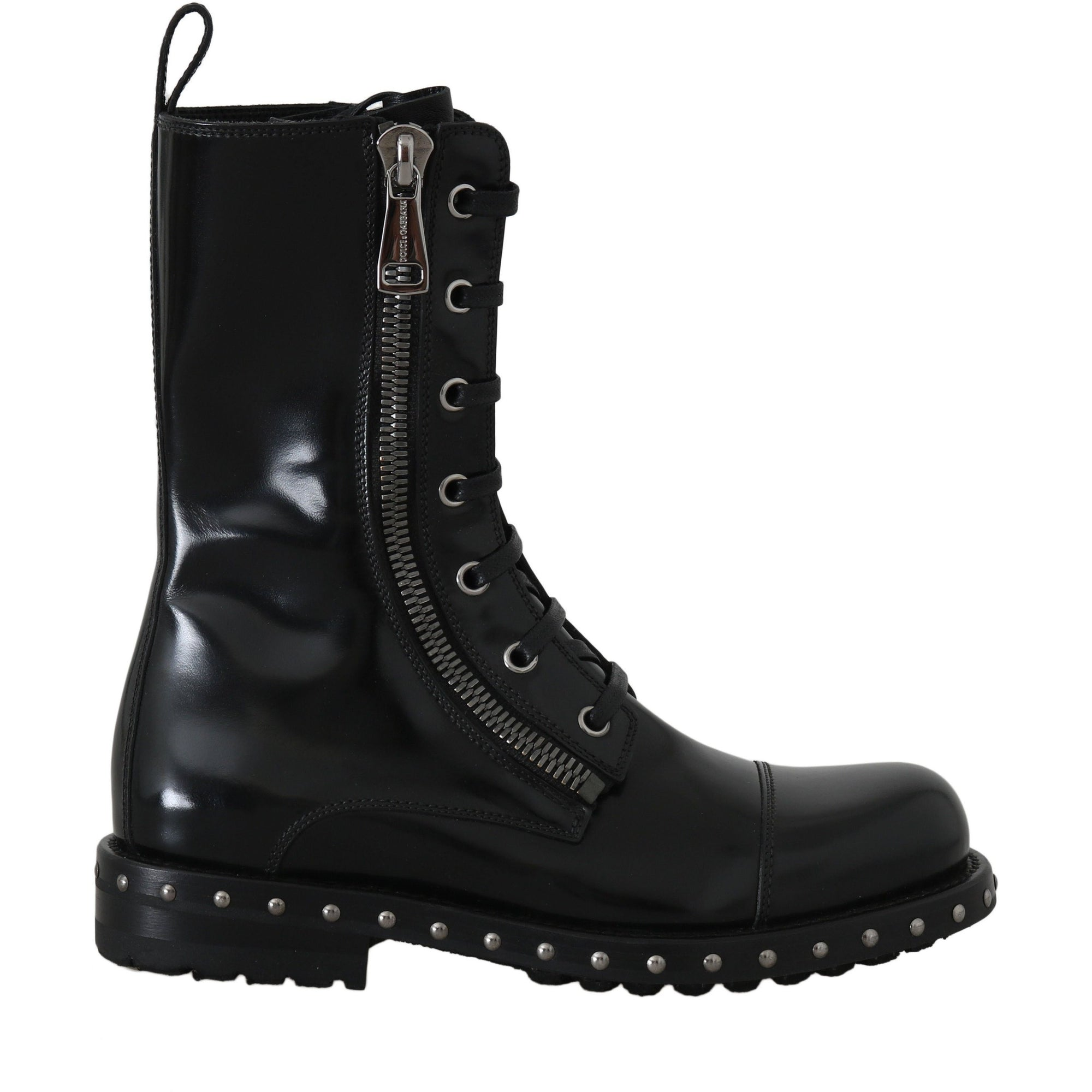 Black Leather Studded Biker Boots
