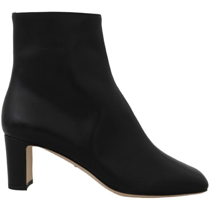 Black Leather Zipper Ankle Boots Dolce & Gabbana