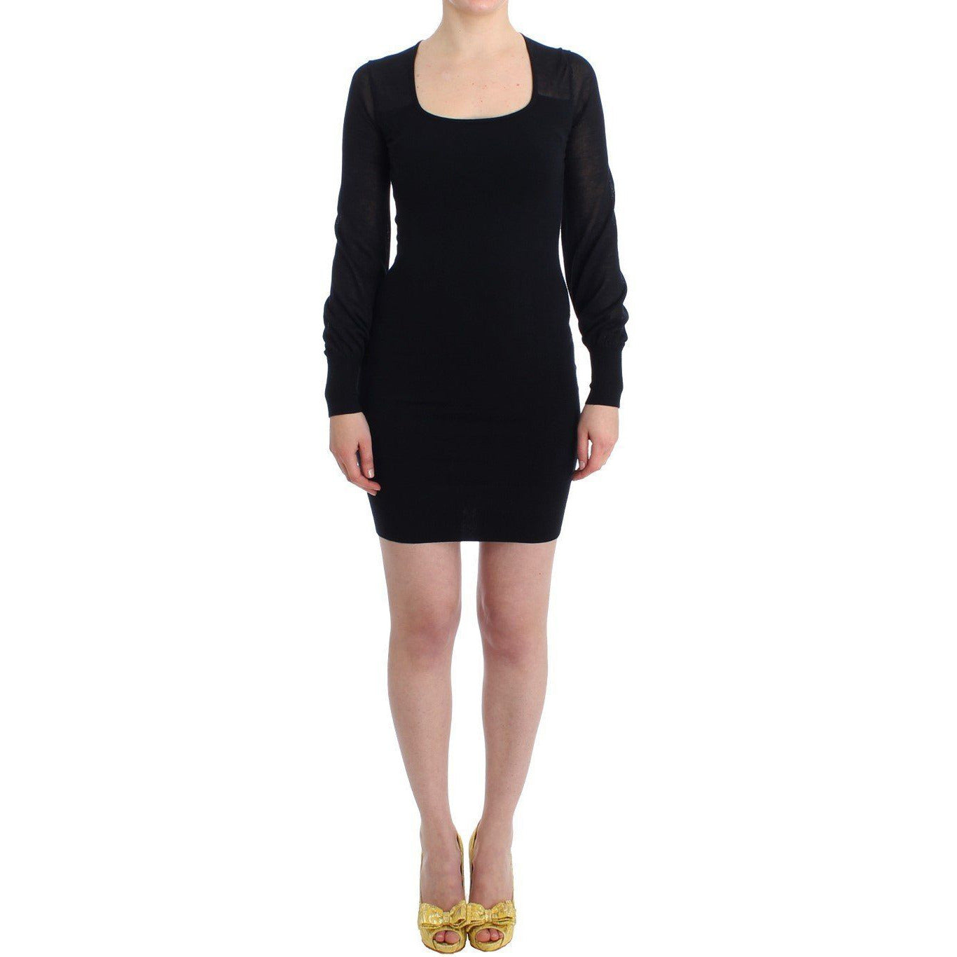 Black Long Sleeve Knitted Sweater Dress GF Ferre