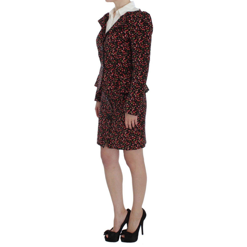 Black Multicolor Floral Suit BENCIVENGA