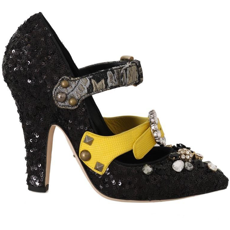 Black Sequined Crystal Studs Heels Shoes Dolce & Gabbana