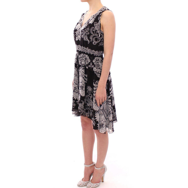 Black Silk Floral Pattern Shift Cocktail Dress SACHIN & BABI