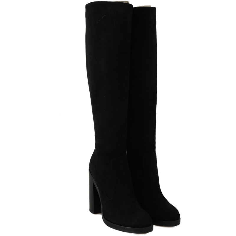 Black Suede Leather Knee High Boots Dolce & Gabbana