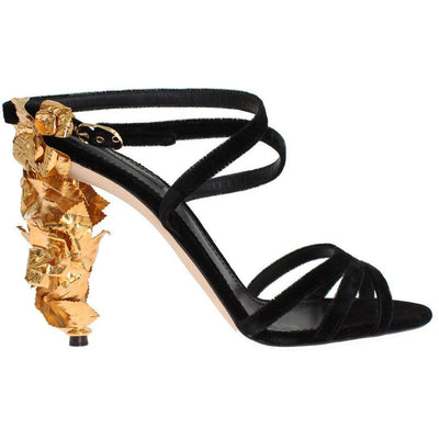 Black Velvet Gold Leaf Sandal Shoes Dolce & Gabbana