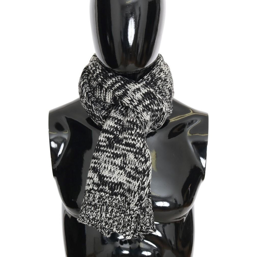 Black White Wool Knitted Scarf Dolce & Gabbana