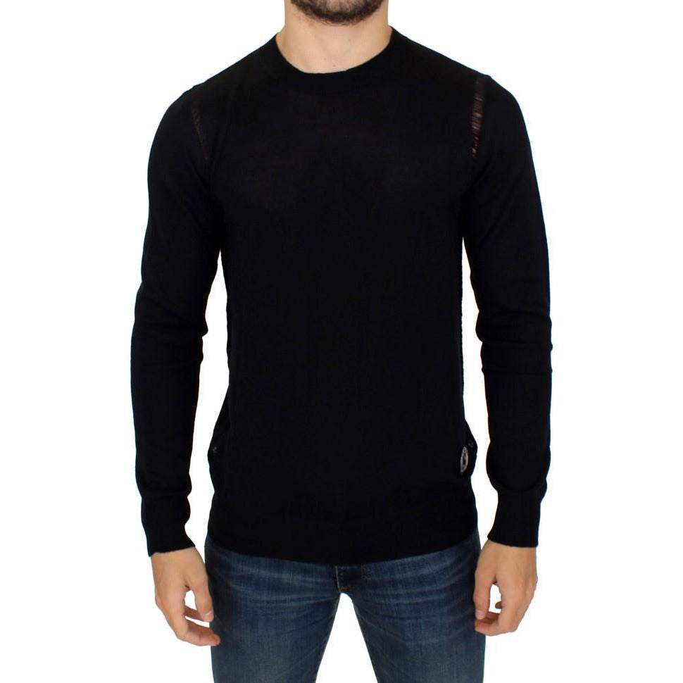 Black Wool Blend Logo Crewneck Pullover Sweater Karl Lagerfeld