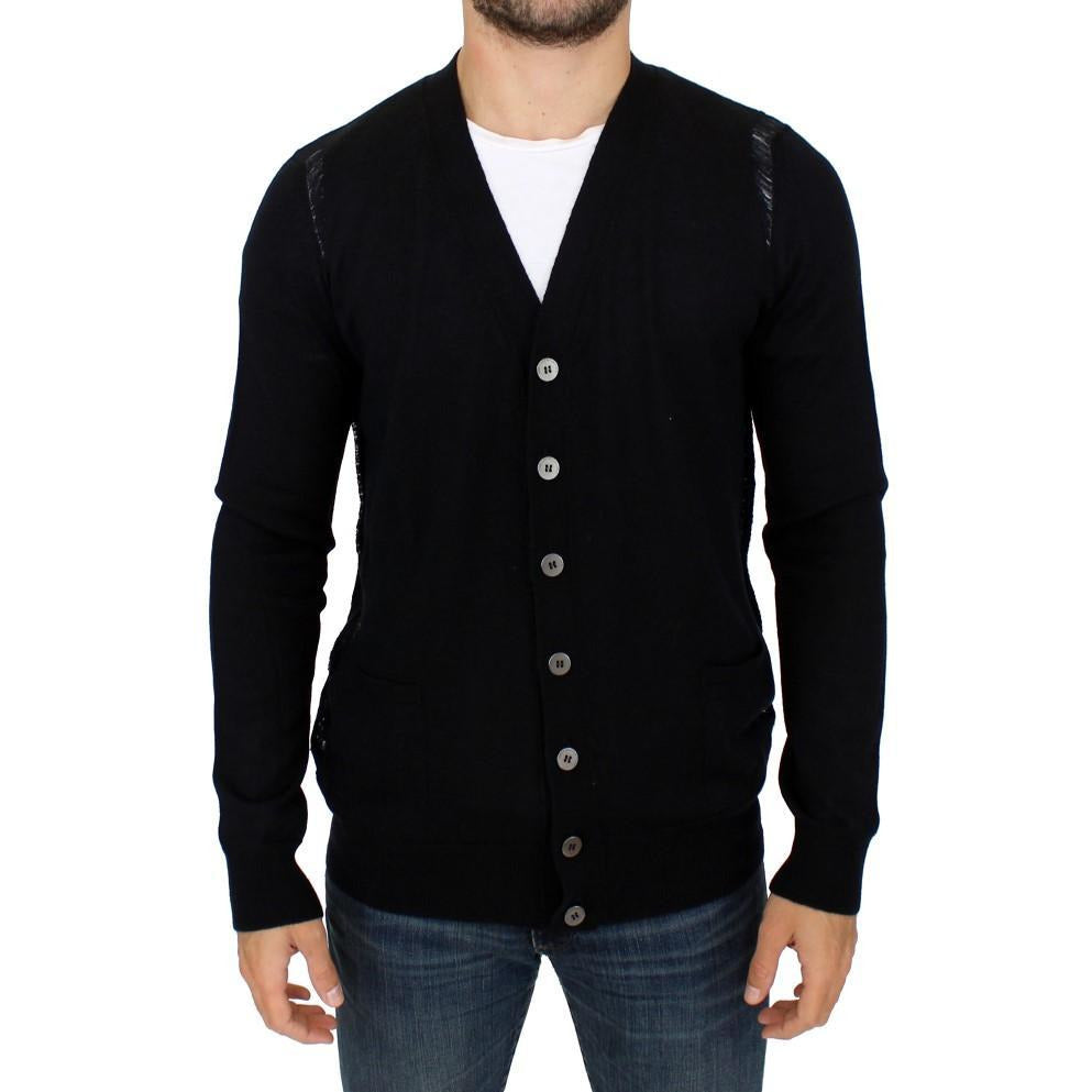 Black Wool Cardigan Sweater Karl Lagerfeld