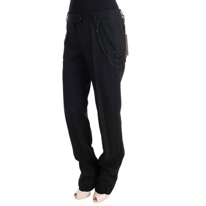 Black Wool Regular Fit Pants