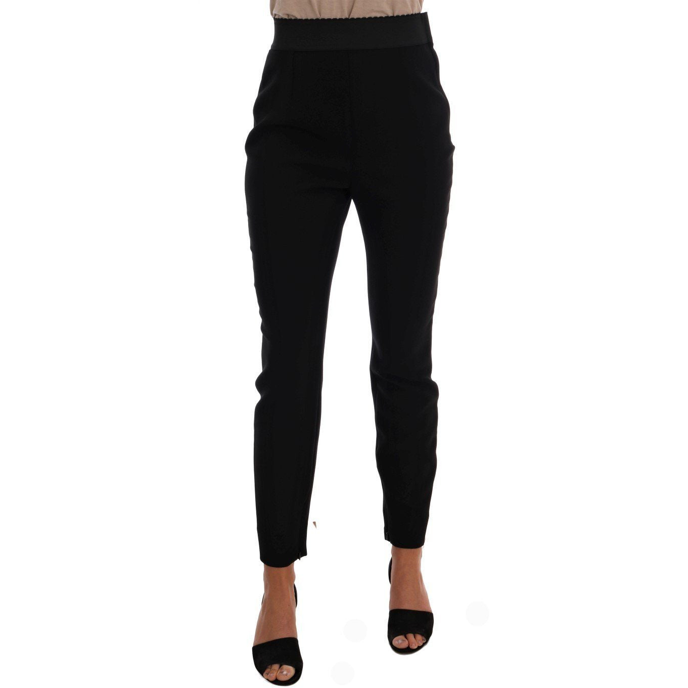 Black Wool Stretch High Waist Pants