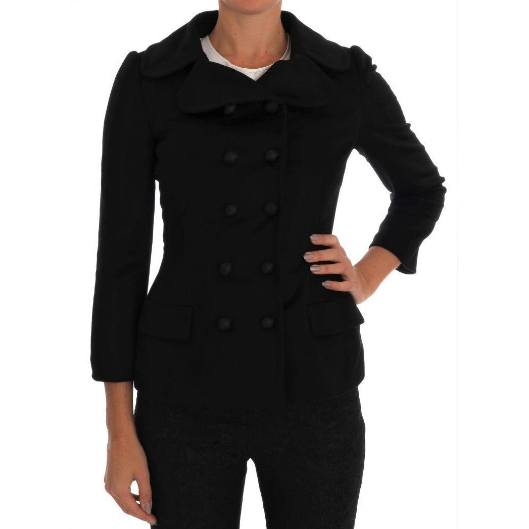 Black Wool Stretch Trench Jacket Dolce & Gabbana