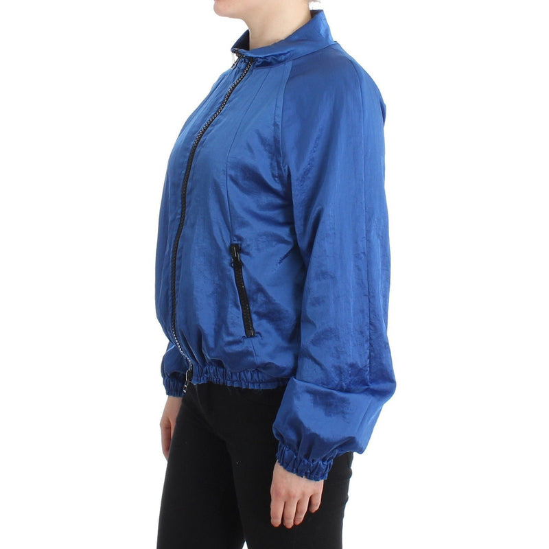 Blue Bomber Jacket Coat Blazer Short Nylon GF Ferre