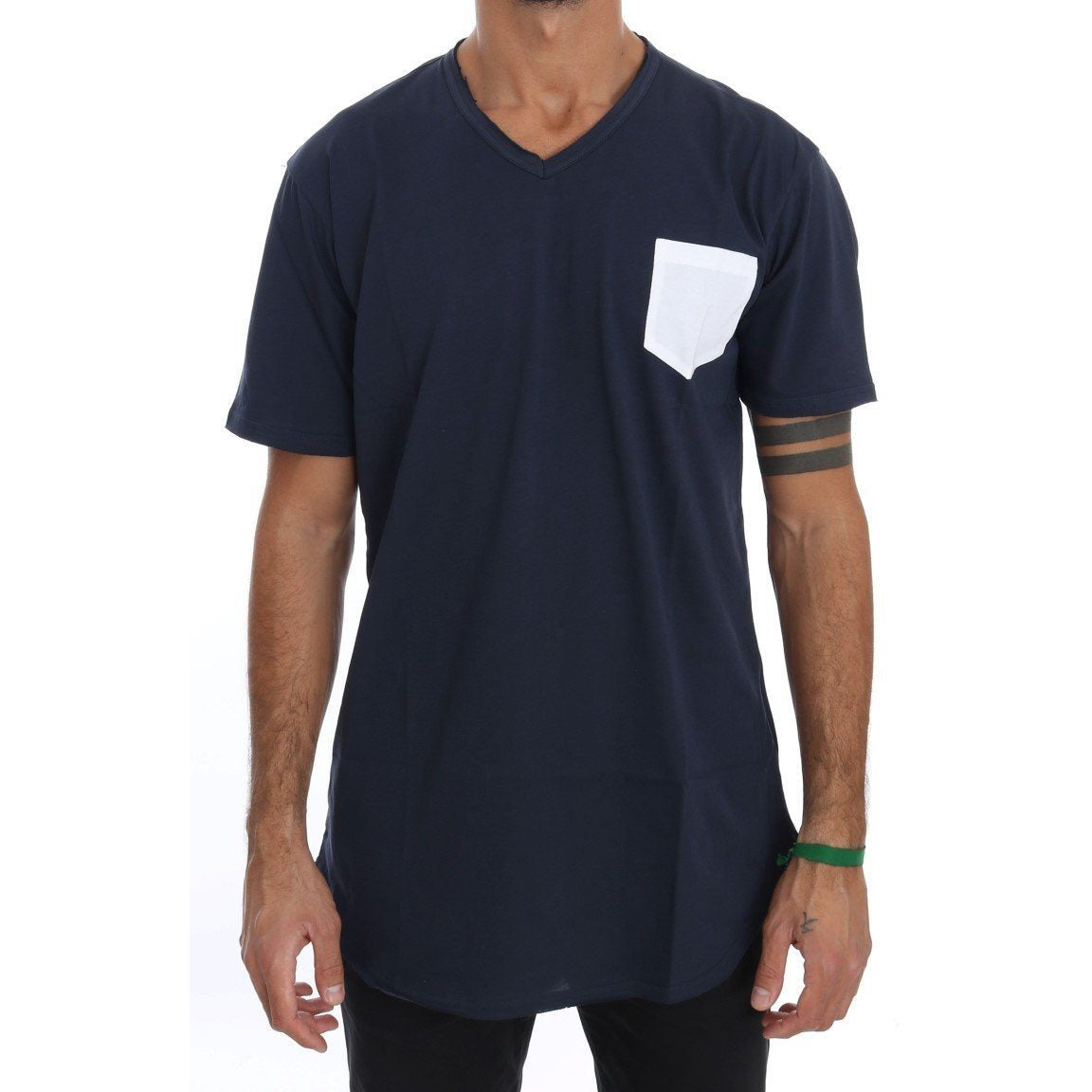 Blue Cotton Crewneck T-Shirt Daniele Alessandrini