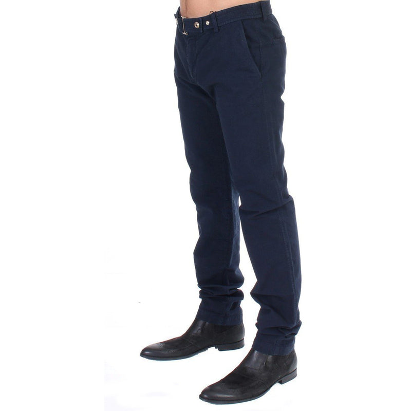 Blue Cotton Regular Fit Casual Pants GF Ferre
