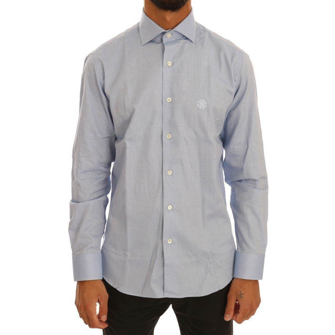 Blue Cotton Slim Fit Dress Shirt Cavalli