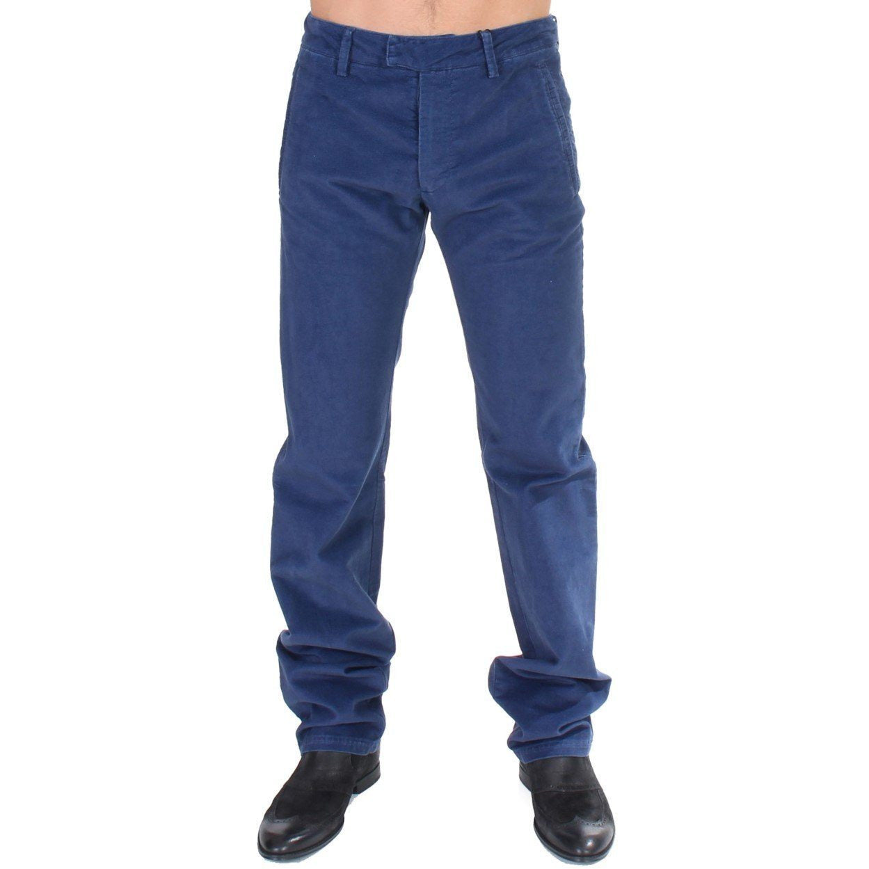 Blue Cotton Straight Fit Casual Pants GF Ferre