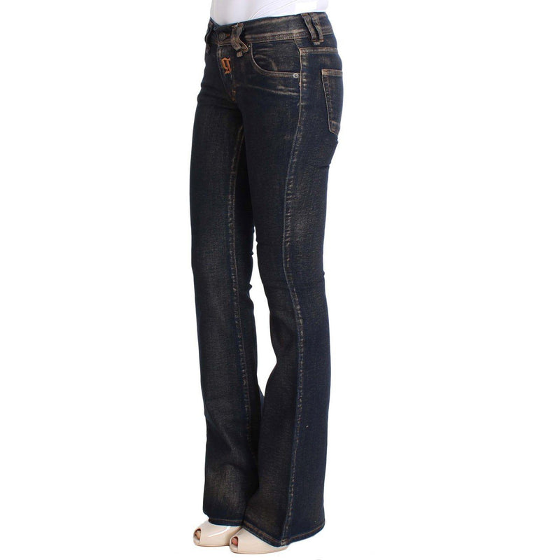 Blue Dark Cotton Stretch Flare Bootcut Jeans Galliano