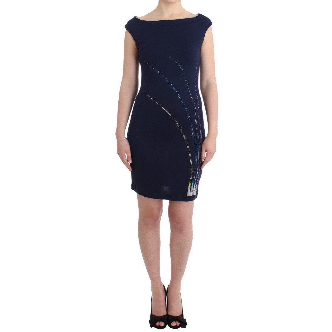 Blue embellished sheath dress
