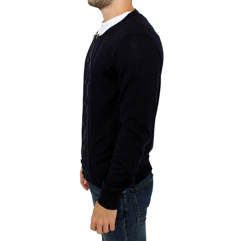 Blue Full Zip Cardigan Sweater Karl Lagerfeld