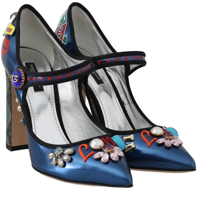 Blue Leather Crystal Mary Jane Pumps Dolce & Gabbana