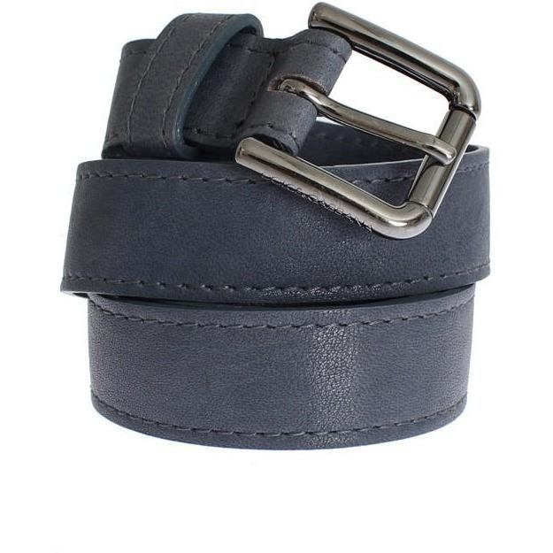 Blue Leather Silver Buckle Logo Belt