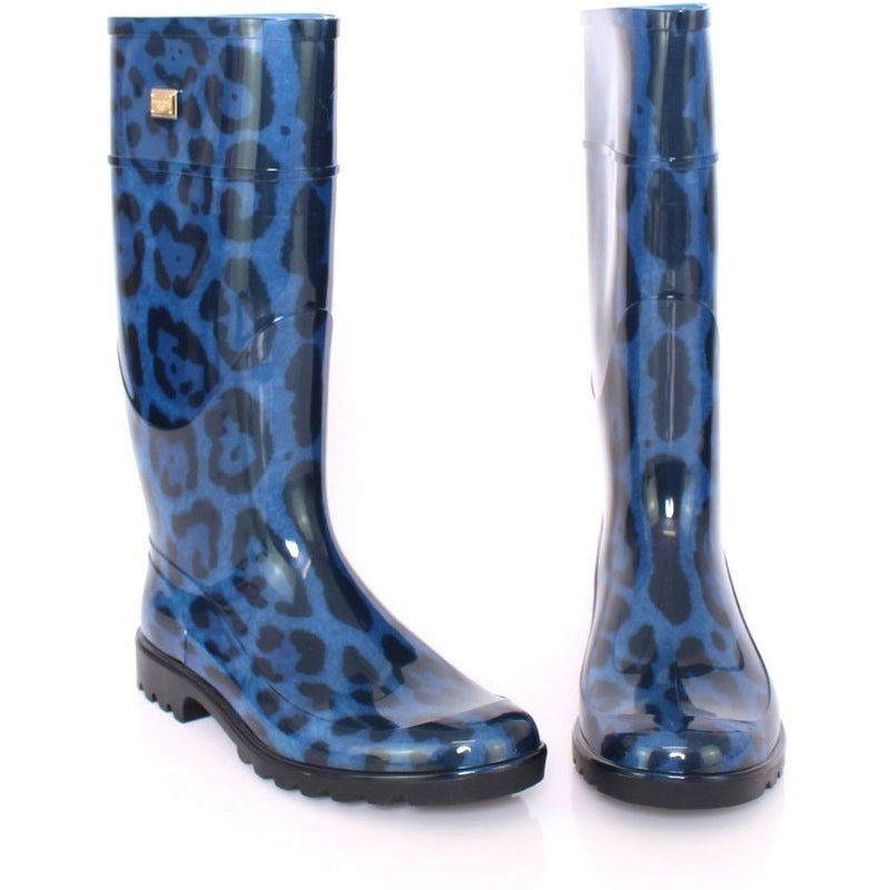 Blue Leopard Rubber Rain Boots Shoes Wellies Dolce & Gabbana