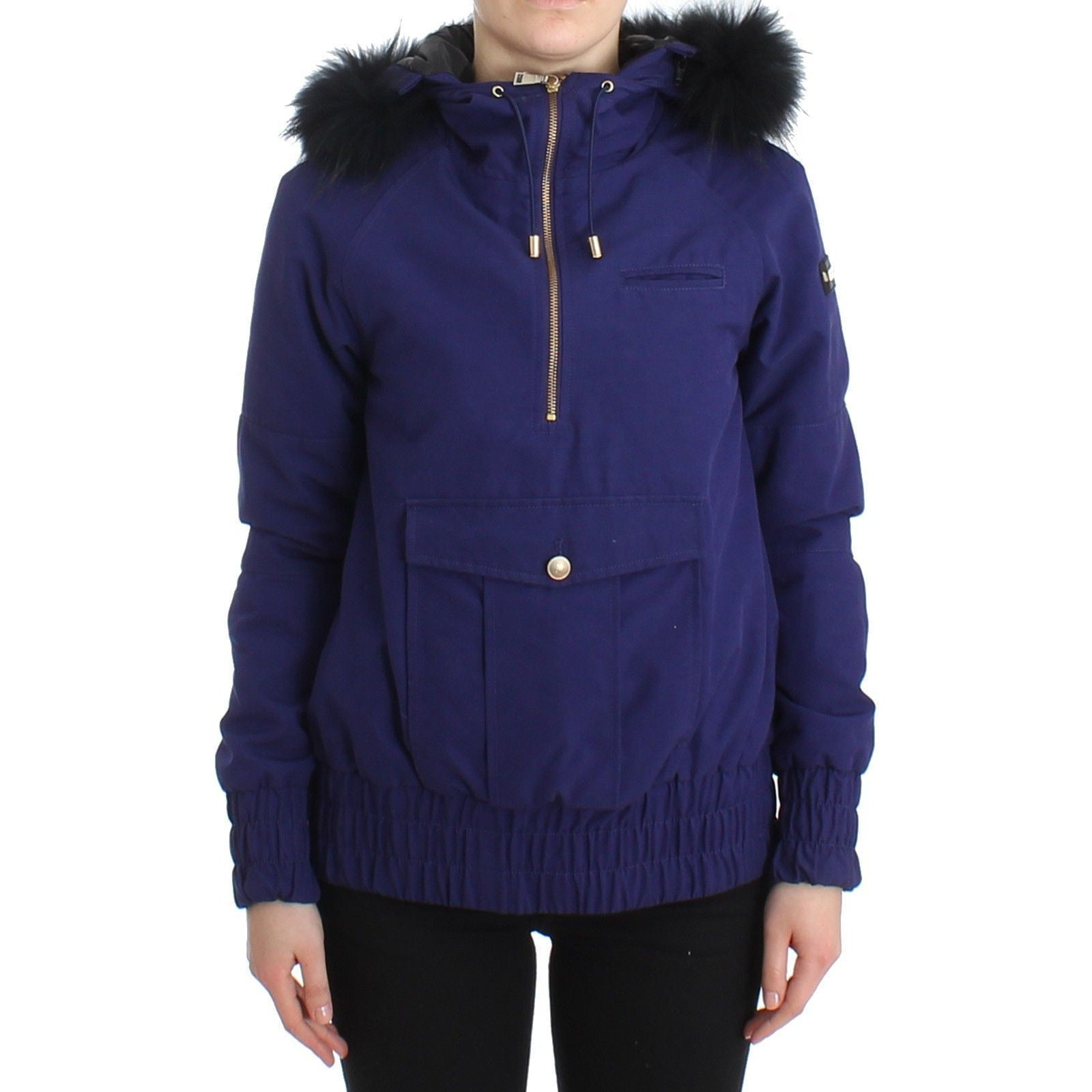 Blue Padded Jacket Hooded Short K-Way GF Ferre