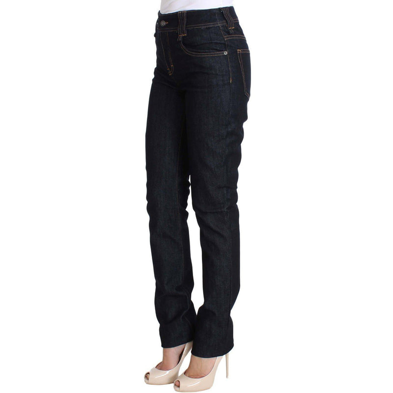 Blue Regular Fit Sequined Cotton Denim Jeans Galliano