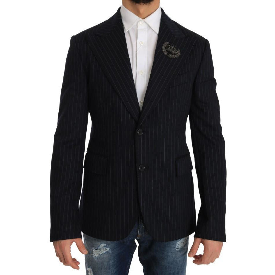 Blue Striped Royal Crown Blazer Jacket Dolce & Gabbana