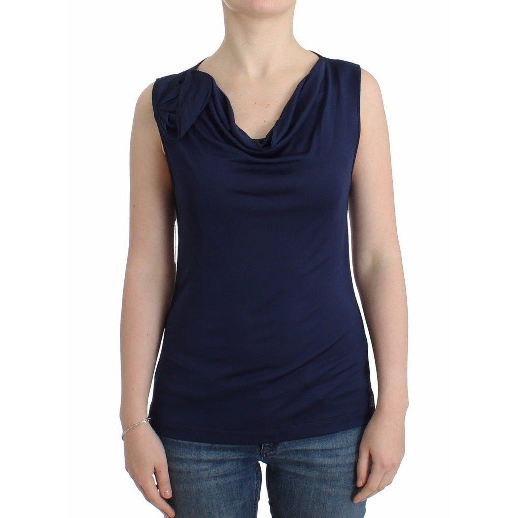 Blue top sleeveless blouse Galliano