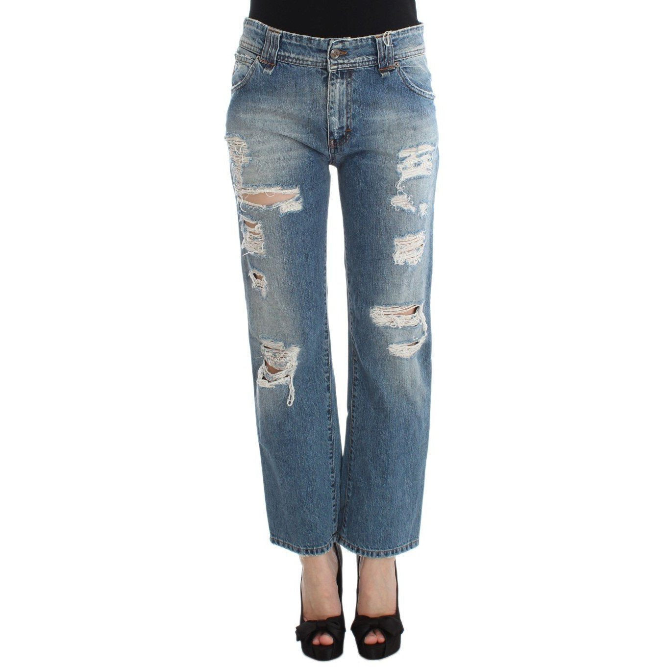 Blue Wash Cotton Boyfriend Fit Cropped Jeans